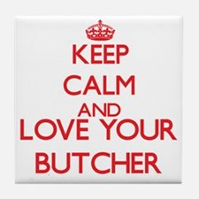 Keep Calm and love your Butcher Tile Coaster