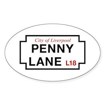 Penny Lane, Liverpool Street Sign, Sticker (Oval)
