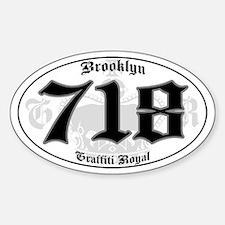 """BROOKLYN 718 OLD SKOOL"" Oval Decal"