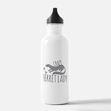 Crazy ferret lady Sports Water Bottle
