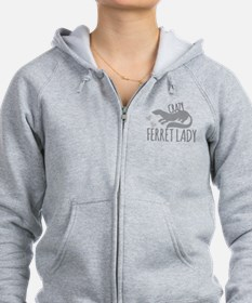 Crazy ferret lady Zipped Hoodie