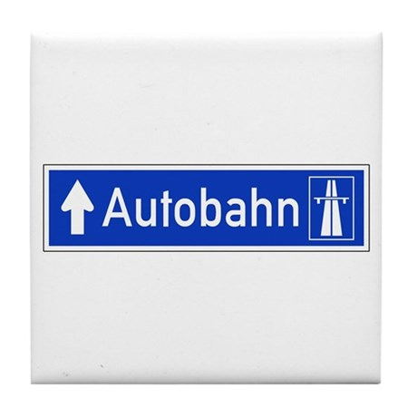 Autobahn Sign, Germany Tile Coaster by worldofsigns Autobahn Sign