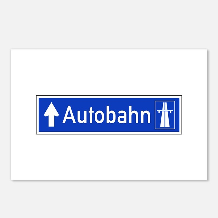 Autobahn Sign, Germany Postcards (Package of 8)