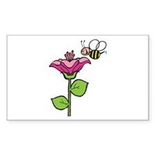 Cute Silly Bee With Flower Rectangle Decal