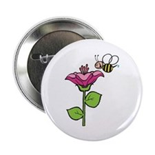 Cute Silly Bee With Flower Button