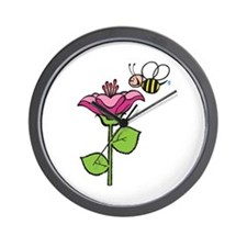 Cute Silly Bee With Flower Wall Clock