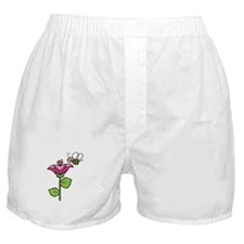 Cute Silly Bee With Flower Boxer Shorts