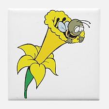 Cute Bee in Daffodil Tile Coaster