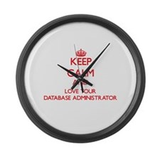 Keep Calm and love your Database Large Wall Clock