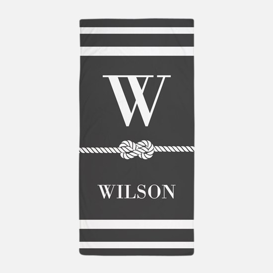 Gray and White Stripe Rope Knot Beach Towel