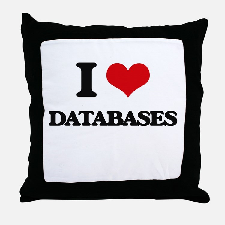 I Love Databases Throw Pillow