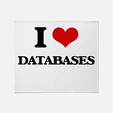 I Love Databases Throw Blanket