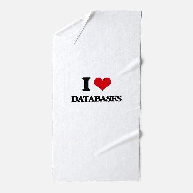 I Love Databases Beach Towel