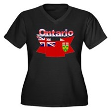 Ontario Flag Women's V-Neck Dark Plus Size T-Shirt