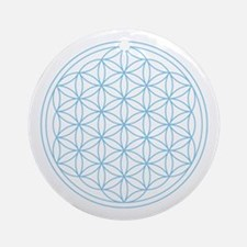 Flower Of Life Blue Ornament (round)