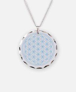 Flower Of Life Blue Necklace Circle Charm
