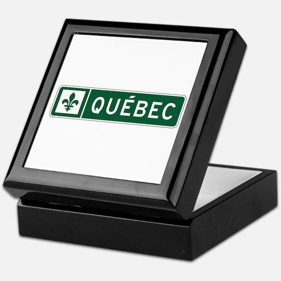 Quebec, Road Sign, Canada Keepsake Box