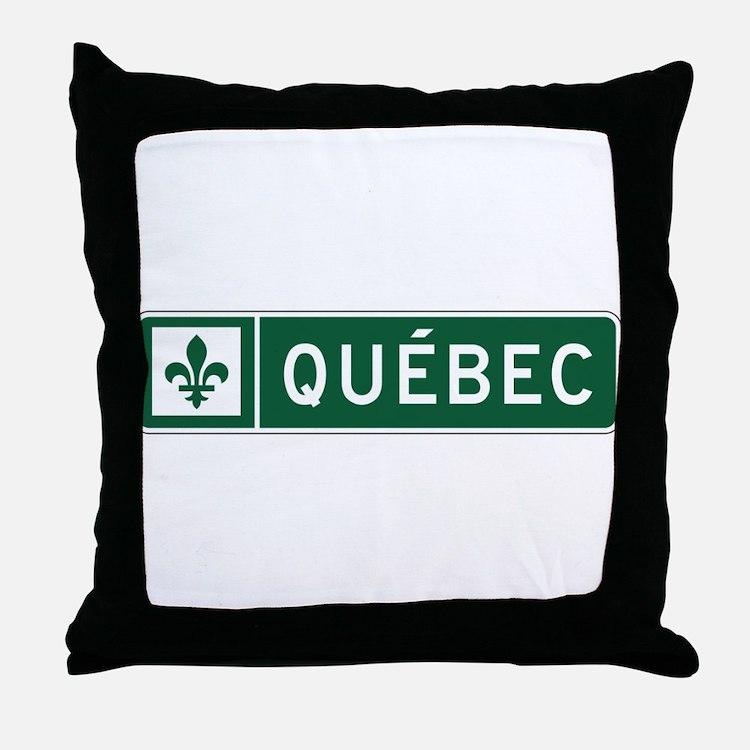 Quebec, Road Sign, Canada Throw Pillow
