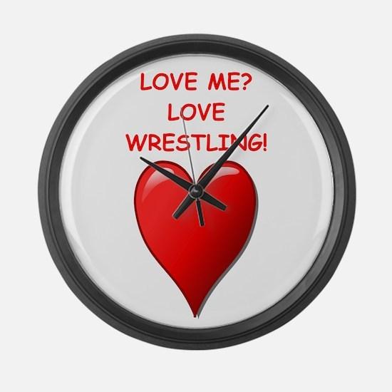 i love wrestling Large Wall Clock