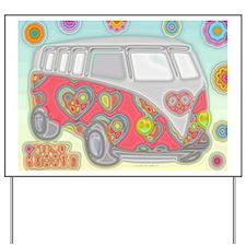Hippie Van Glass Print Yard Sign