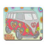 Hippie Van Glass Print Mousepad