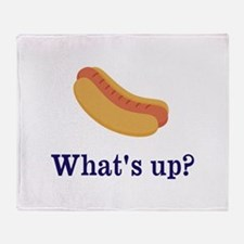 Whats up (Hot) Dog Funny Throw Blanket