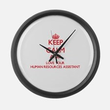 Keep Calm and love your Human Res Large Wall Clock