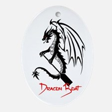 Dragon Boat red Text Ornament (Oval)