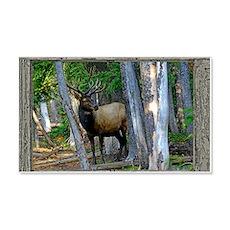 Old Cabin Window bull Elk 1 Wall Decal