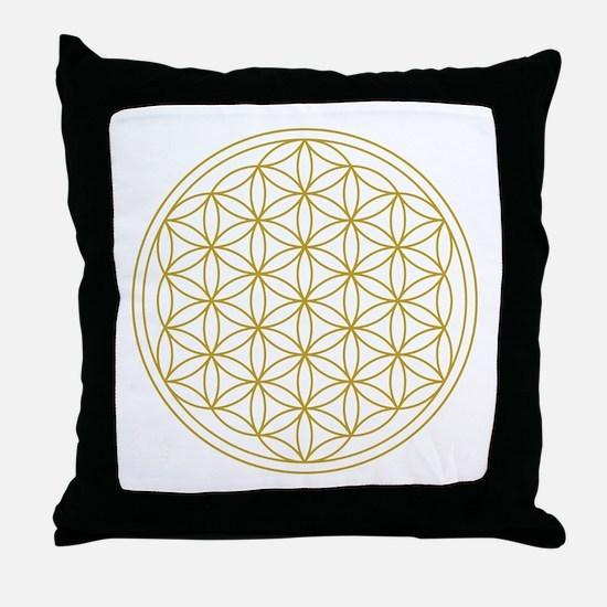 Flower Of Life Gold Throw Pillow