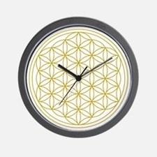 Flower Of Life Gold Wall Clock