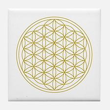 Flower Of Life Gold Tile Coaster