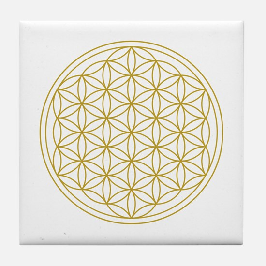 Flower Of Life Gold Tile Coaster
