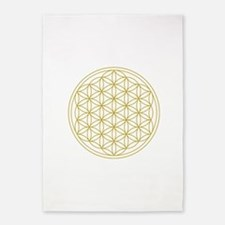 Flower Of Life Gold 5'x7'area Rug