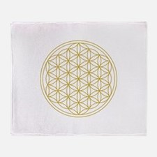 Flower Of Life Gold Throw Blanket