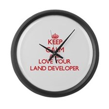 Keep Calm and love your Land Deve Large Wall Clock