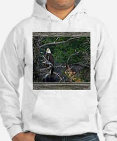 Old Cabin Window Bald Eagle Hoodie