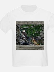Old Cabin Window Bald Eagle T-Shirt