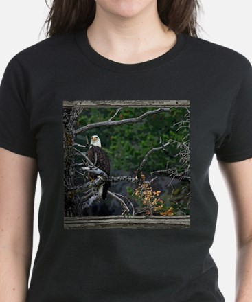 Old Cabin Window Bald Eagle Tee