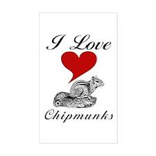 I Love Chipmunks Sticker (Rect.)