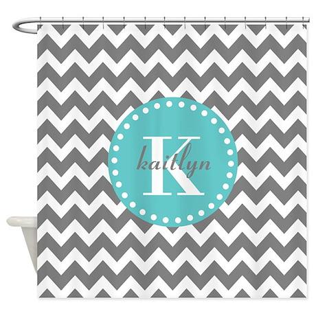 gray and turquoise chevron custom m shower curtain