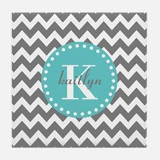Gray and Turquoise Chevron Custom Mon Tile Coaster