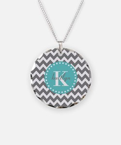 Gray and Turquoise Chevron C Necklace