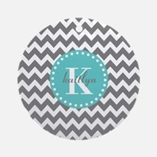 Gray and Turquoise Chevron Custom Ornament (Round)