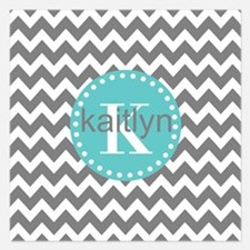 Gray and Turquoise Chevron Invitations