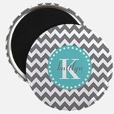 Gray and Turquoise Chevron Custom Monogram Magnet