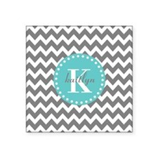 "Gray and Turquoise Chevron Square Sticker 3"" x 3"""