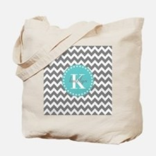 Gray and Turquoise Chevron Custom Monogra Tote Bag