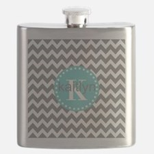 Gray and Turquoise Chevron Custom Monogram Flask