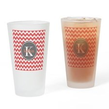 Charcoal Gray and Coral Modern Chev Drinking Glass